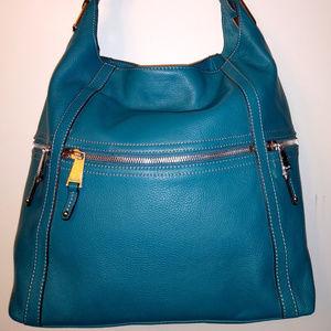 Tignanello Peacock Blue Large Leather Hobo Bag